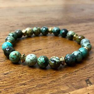 mode la plus désirable commercialisable publier des informations sur Détails sur Bracelet Homme femme Turquoise Afrique 8mm - Perles du Tibet  Pierres Naturelles