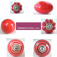 Bouton Porte Placard Tiroir Meuble Céramique Porcelaine Rouge Handle Knob Pull