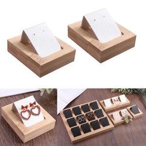2er-Set-Ohrring-Kartenhalter-mit-Bambus-Tablett-Vitrinen-Organizer-Accs-White