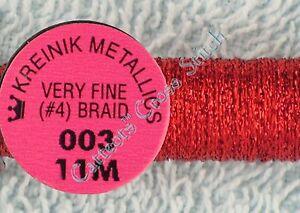 Kreinik-Braid-4-003-Red-Metallic-Thread-Very-Fine-11M-Cross-Stitch