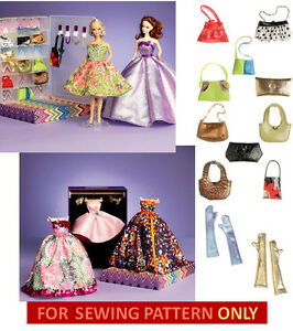 SEWING-PATTERN-MAKE-BARBIE-DOLL-CLOTHES-ACCESSORIES-DRESS-NECKLACE-PURSE-MORE