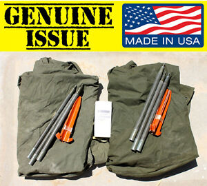 Image is loading US-Military-USGI-Shelter-Half-PUP-Tent-2-  sc 1 st  eBay & US Military USGI Shelter Half PUP Tent 2 Halves CANVAS VIETNAM ...