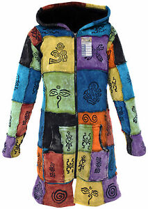 Multicolored-Hippie-Pointed-Hoody-Elf-Long-Patchwork-Goth-Punk-Emo-Over-Coat