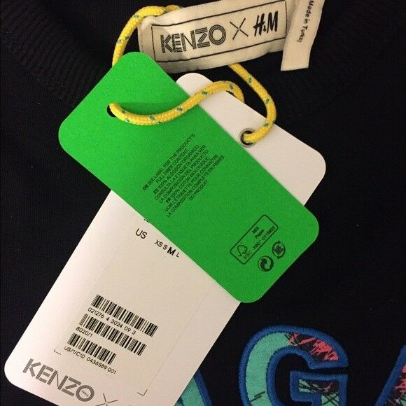 KENZO H&M Felpa Nero Giungla Felpa H&M Maglione Taglia Large d031a0
