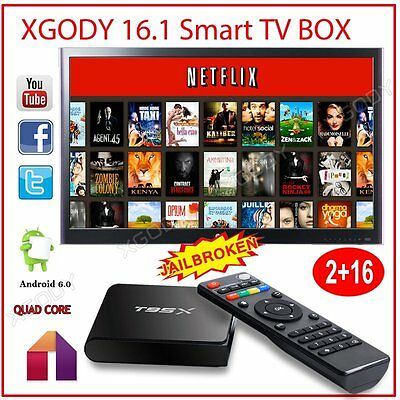 Android 6.0 XGODY Latest 16.1 2GB+16GB Network Streamer TV BOX T95X 4K Movies HD