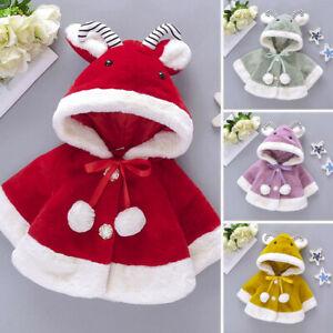 Zimuuy Toddler Baby Girls Winter Cute Soild Color Faux Furs Cape Kids Windproof Hairball Coat Infant Girls Warm Cloak