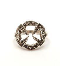 Vintage 925 Sterling Silver MARCASITE SET ART DECO STYLE COCKTAIL RING 3.8g UK Q