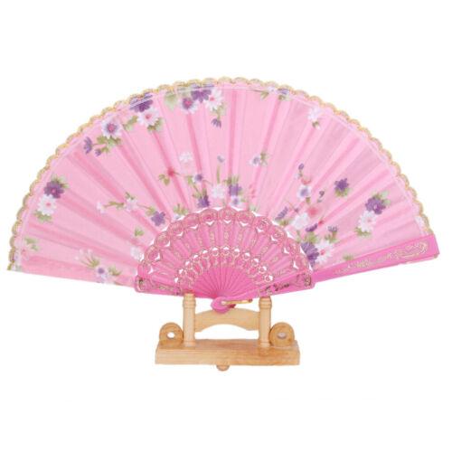 Flowers Folding Hand Fan Handheld Dancing Fan Wedding Party Decors Pink