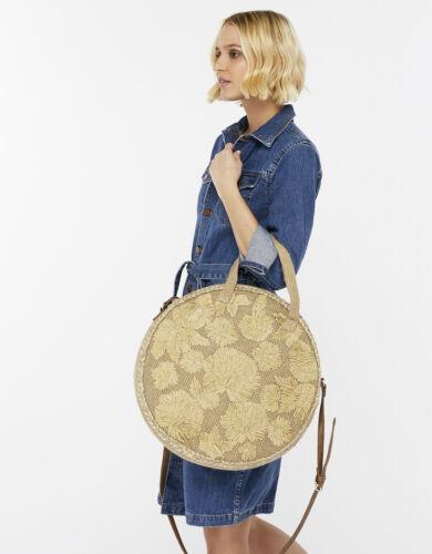 Tan Bag Bolso Olivia Jute X Boho Accessorize Large Floral Circle Raffia Nude gvCnSTqxw