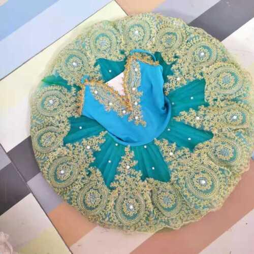 Kids Women Blue Pearl Tutu Skirt Pro Ballet Dancewear Platter party Dress