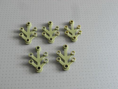 5 petits Vert Olive Feuilles - bon état Lego 2423 4 x 3 Rivets