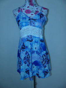 Neues-Damen-Kleid-Minikleid-Sommerkleid-Kleid-Gr-L-Tuerkis-Violet-NEU-OVP
