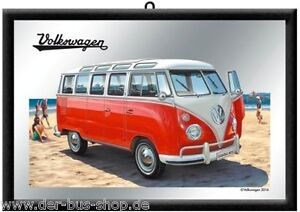 VW-Bus-T1-Samba-Wandspiegel-Spiegel-20x30cm-Neu-amp-OVP