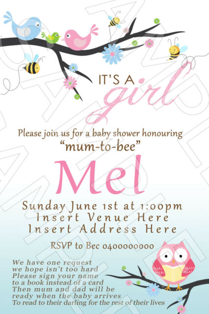 Personalised Baby Shower Invite Invitation It's a Girl Bunting Birds & Bee's