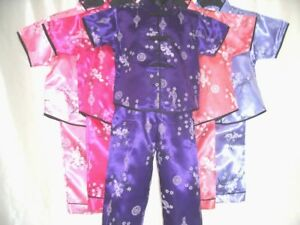 Childrens-GIRLS-Oriental-Japanese-Chinese-Kimono-Style-Pyjama-1-2yr-to-13-14yrs