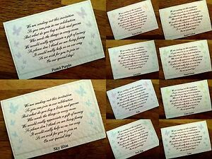Wedding Poem Gift Cards, Asking for Money or have your own poem **19 colours**