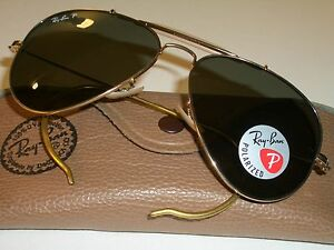 98512c2fac 58-14mm RAY BAN RB3030 L0216 GOLD POLARIZED WRAP-AROUNDS AVIATOR ...
