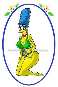 Image Is Loading Pin Up Sexy Cartoon Marge Simpson The Simpsons