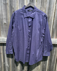 Synrgy Men's Button-Up Shirt Size 3XL Purple W/ Pink Dots Long Sleeve Casual