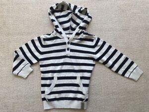 Details zu H&M Baby Pullover Blau Beige gestreift mit Kapuze Gr.86