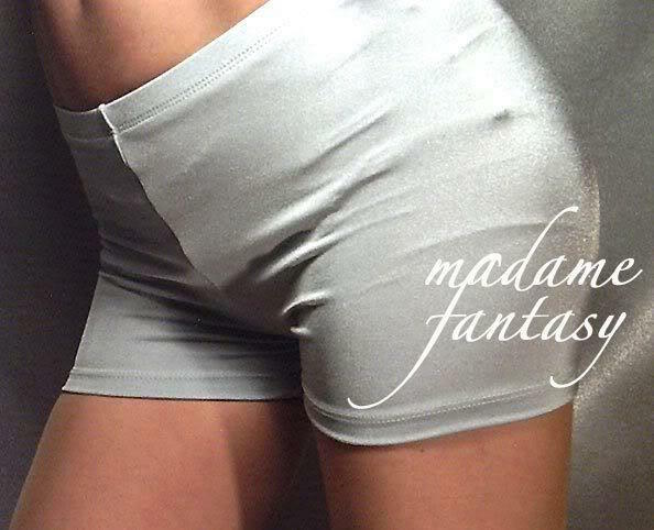 MADAME FANTASY SHINY SPANDEX SHORTS HOT PANTS SILVER XS S M L XL XXL XXXL