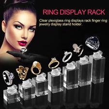 Clear Plexiglass Ring Displays Rack Finger Ring Jewelry Display Stand Holder EM
