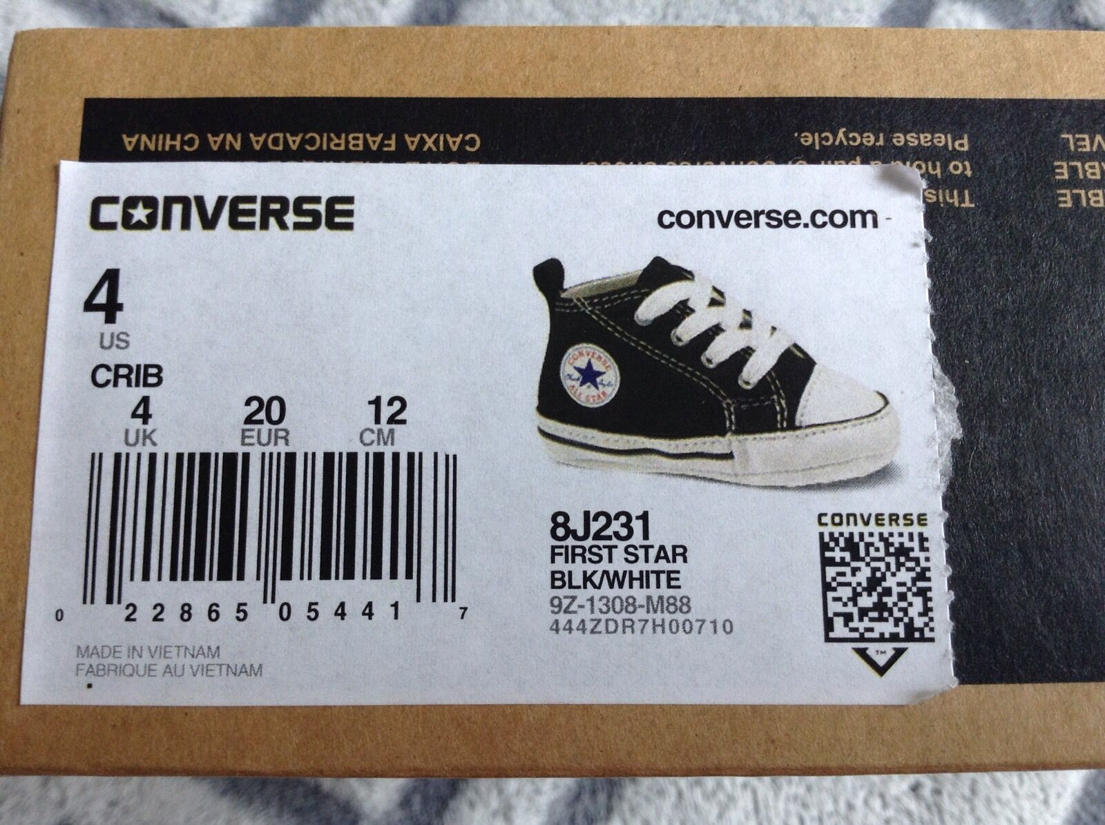 TODDLER CONVERSE CANVAS FIRST STAR BLACK//WHITE 8J231 SOFT BOTTOM CRIB SIZE