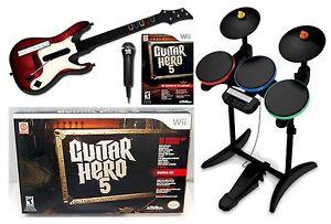 new nintendo wii guitar hero 5 band set kit w drums mic guitar video game bundle ebay. Black Bedroom Furniture Sets. Home Design Ideas