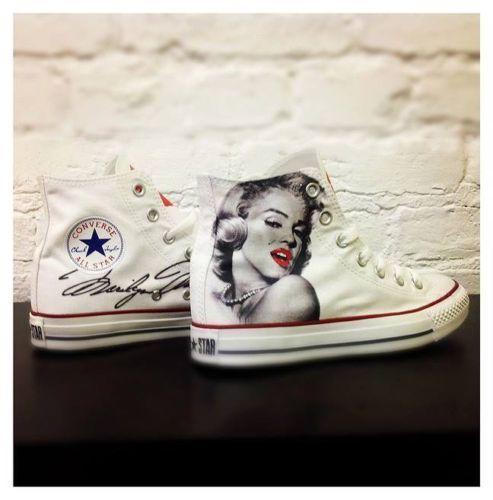 Moda barata y hermosa Barato y cómodo Converse Bianche High Alte Paint personalizzate Disegnate Marilyn Monroe