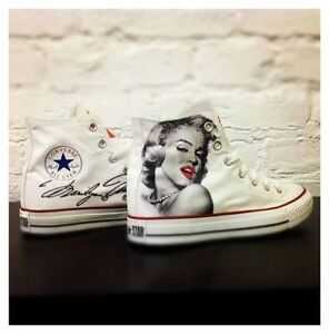 Converse Bianche High Alte Paint personalizzate Disegnate Marilyn Monroe