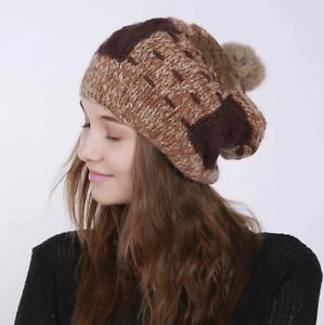 Women Cap Winter Knitted Beanies Hat Thick Soft Warm Coarse Rabbit Fur Ball Hat
