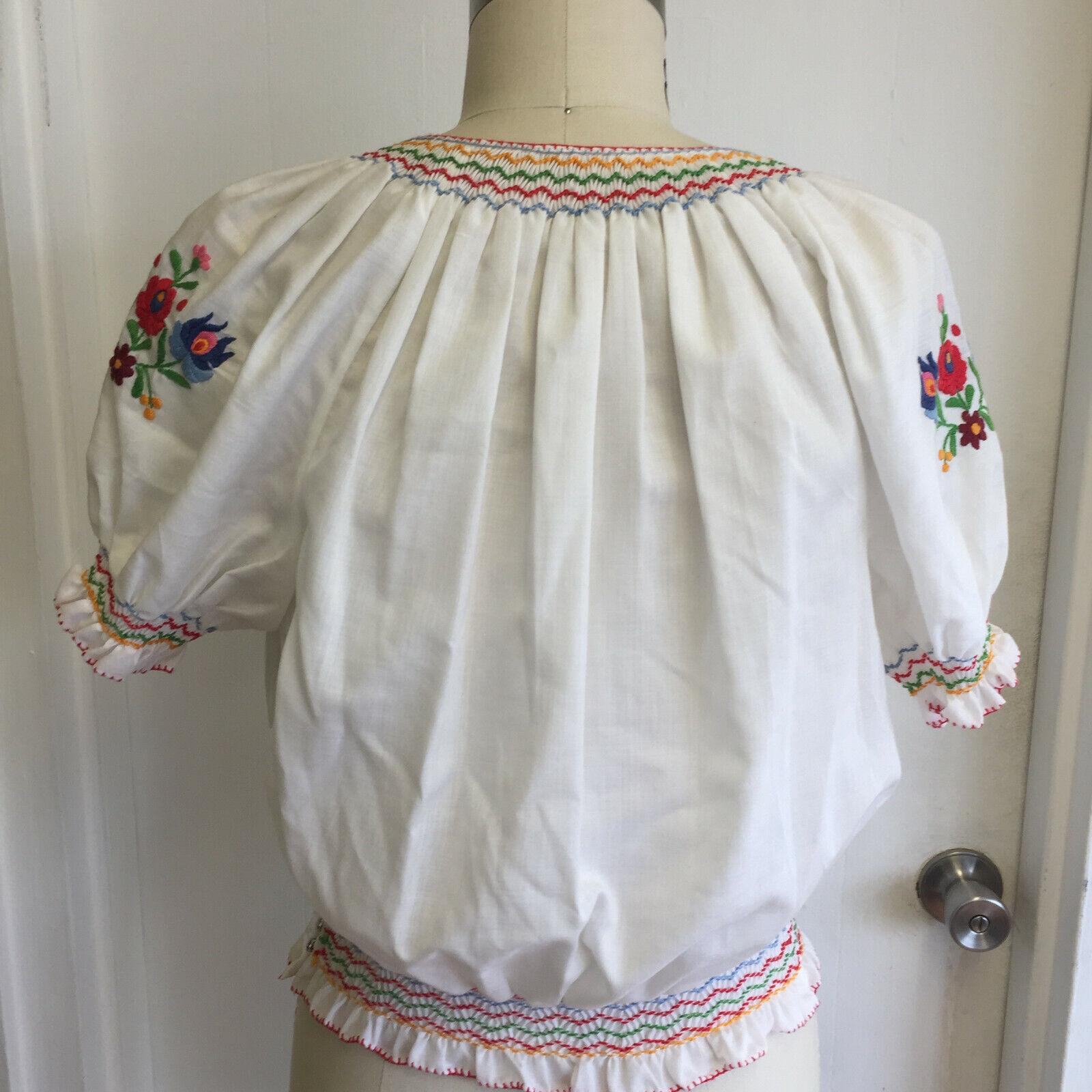 Vintage Hungarian Blouse Unworn Embroidered Peasa… - image 4