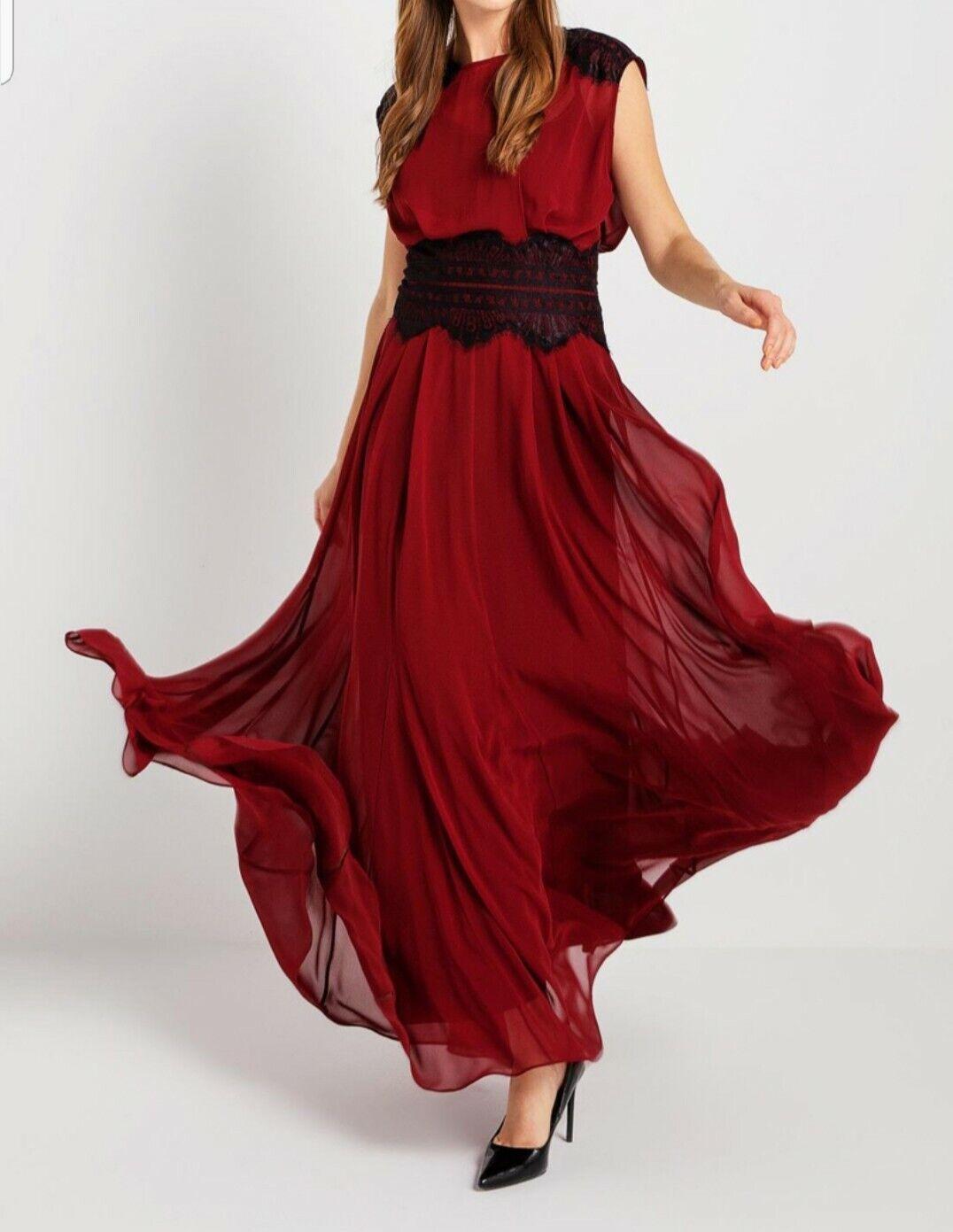 NEW  BGN Abito Vestito Cerimonia matrimonio bordeaux  pizo schwarz Dress