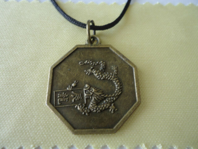 Chinese Zodiac Bronze  DRAGON & Yin Yang Bagua Pendant with Necklace(FS-P33)