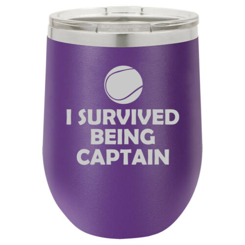 Stemless Wine Tumbler Coffee Travel Mug Glass Tennis I Survived Being Captain