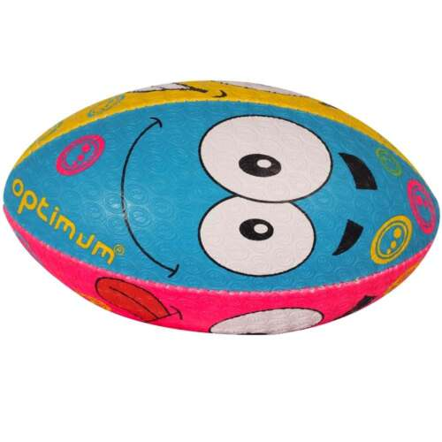 Optimum Rugby Ball 'Emoji' Size 3, 4 and 5 Blue/Pink/Yellow/Green Faces NEW