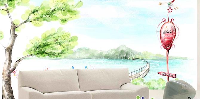 3D Grüner Baum Lakeside 455 Tapete Tapeten Mauer Foto Familie Tapete Wandgemälde
