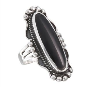 Sterling-Silver-Long-Oval-Black-Onyx-Ring-Free-Gift-Packaging