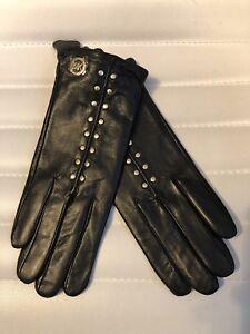 Michael-Kors-Black-Leather-Gold-Studded-Womens-Tech-MK-Gloves-MSRP-98-NEW