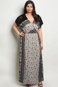 Womens Plus Size Black Floral Boho Maxi Dress 1XL New | eBay