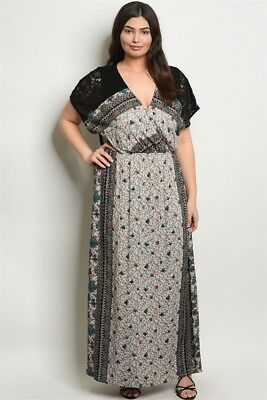 Womens Plus Size Black Floral Boho Maxi Dress 2XL New | eBay