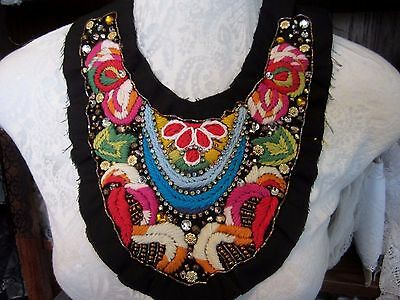 "10""  **HAND EMBROIDERED - RHINESTONE EMBELLISHED** Neckline Applique  COLORFUL"