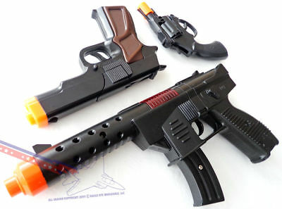 LOT OF 2 TEC-9 KG-9 CAR-15 HANDGUN TOY ASSAULT RIFLE MACHINE GUN MILITARY CAPS