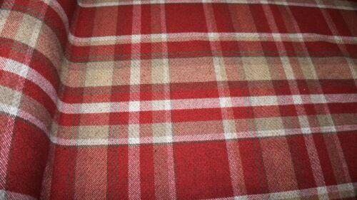 Rojo Oscuro Lana Efecto Tartán Tapicería Cortina Balmoral Tela Tela De Cuadros Escoceses