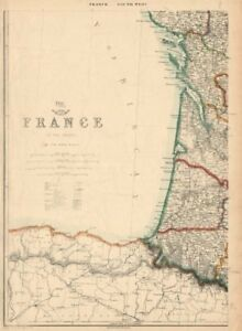 Map Of France Vendee.Details About France South West Coast Charente Vendee Gironde Landes Pyrenees Lowry 1863 Map