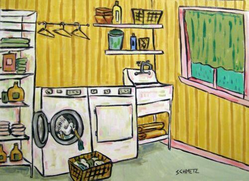 EGRET laundry room  art print animals artist gift new impressionism 11x14