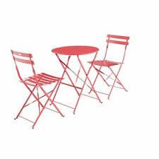 Salon de jardin bistrot pliable - Emilia rond rouge framboise- Table ronde Ø60cm
