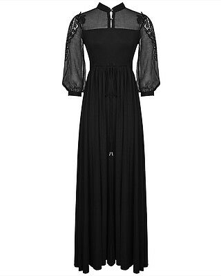 Punk Rave Maxi Dress Long Black Gothic Steampunk Victorian Summer VTG Witch