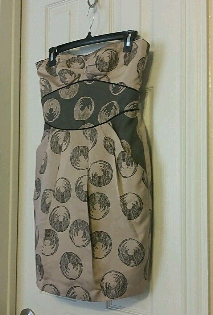 BCBG Maxazria Strapless Silk Dress Mauve Print-Size 4