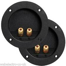 05184 2x 2 Way Gold Plated Round Speaker Binding Post Terminal Panel Connectors